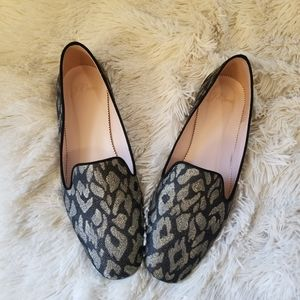 J. Crew smoking slipper mule metallic print 7.5